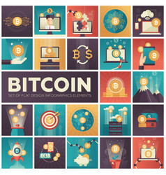 bitcoin - set colorful flat design infographics vector image