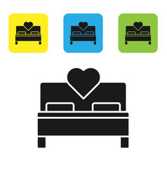 Black bedroom icon isolated on white background vector