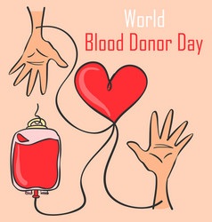 blood donor day style collection doodles vector image