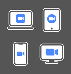 blue camera icons - camera app icons on different vector image
