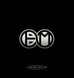 Bm initial letter linked circle capital monogram vector
