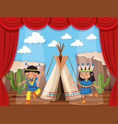 boy and girl playing native indians on stage vector image