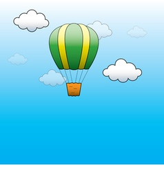 Bright Hot Air Balloon flying in the blue sky vector