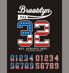 Brooklyn set number texture flag united states vector