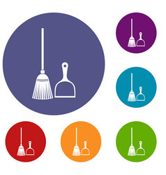 Broom and dustpan icons set vector