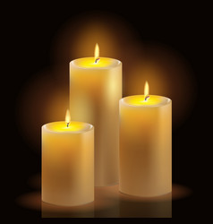 burning wax candles realistic set vector image