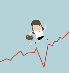 Businesswoman jumps over the gap in growth chart vector