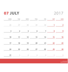 Calendar planner 2017 july week starts monday vector