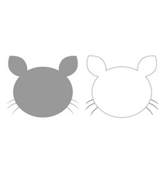 cat head grey set icon vector image