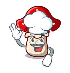 Chef amanita mushroom character cartoon vector