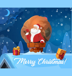 christmas santa claus on roof xmas gifts vector image