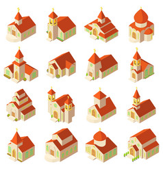 Church building icons set isometric style vector