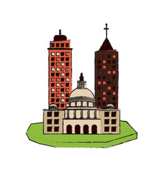 City on flotating land icon image vector