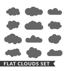 Cloud icons set Gray outline vector