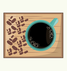Coffee cup hot beverage fresh beans vector