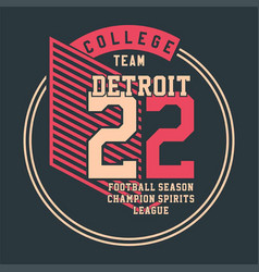 college team detroit vector image