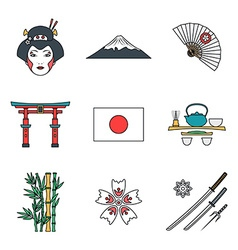 colored outline various japan icons set vector image