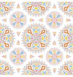 Colorful aztec mandala pattern on a white tile vector