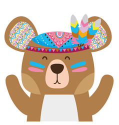 Colorful cute bear animal with feathers decoration vector