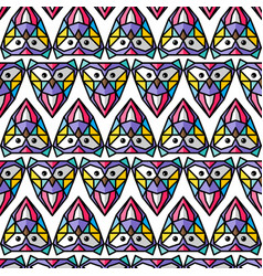 colorful owl background pattern theme vector image