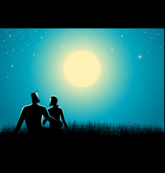 Couple sitting on grass watching the full moon vector