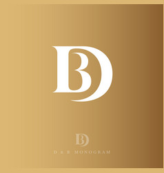 d and b monogram logo gold letter drop vector image