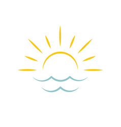 dawn on sea sun icon travel agency emblem vector image