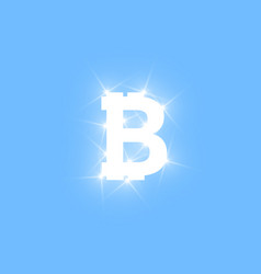 digital bitcoins symbol with light effect on vector image