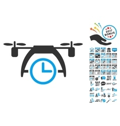 Drone Clock Icon With 2017 Year Bonus Symbols vector