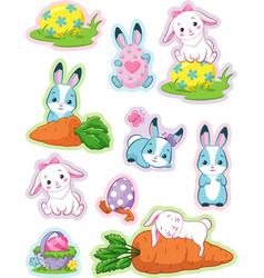 easter stickers with bunny vector image