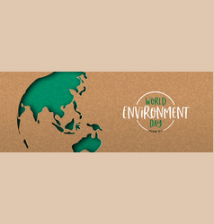 environment day banner green cutout earth map vector image