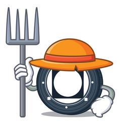 Farmer byteball bytes coin character cartoon vector