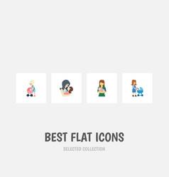 Flat icon parent set of perambulator mother vector