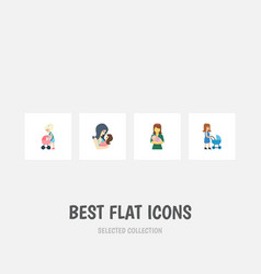 Flat icon parent set perambulator mother vector
