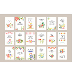 Flat set of retro card templates with vector