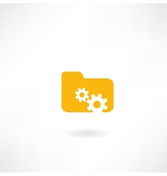 Folder icon with cogs vector