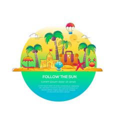 follow the sun - line travel vector image