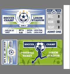 football or soccer ticket template design vector image vector image