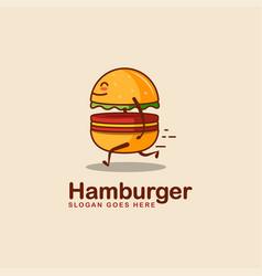 Fun playful fast running burger logo icon vector