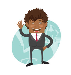 funny confident black business man wearing suit vector image