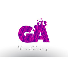 Ga g a dots letter logo with purple bubbles vector