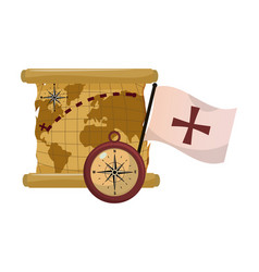 Global map with compass and flag cross vector