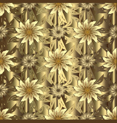Gold floral 3d seamless pattern textured vector