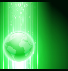green background with binary code to the globe vector image