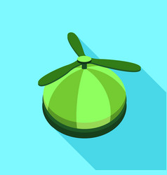 Green propeller hat icon flat style vector