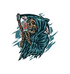grim reaper eating ice cream vector image