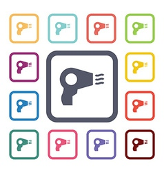 Hairdryer flat icons set vector