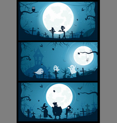 halloween banners with big full moon moon vector image