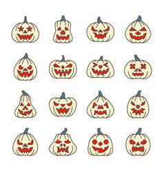halloween pumpkin with carving face line icon set vector image