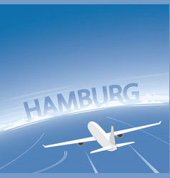 Hamburg skyline flight destination vector